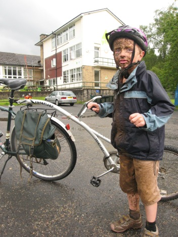 Bertie Kirkwood at journey's end - outside Kielder Youth Hostel
