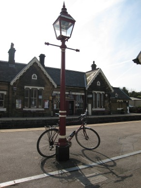 Waiting for the train at Settle station