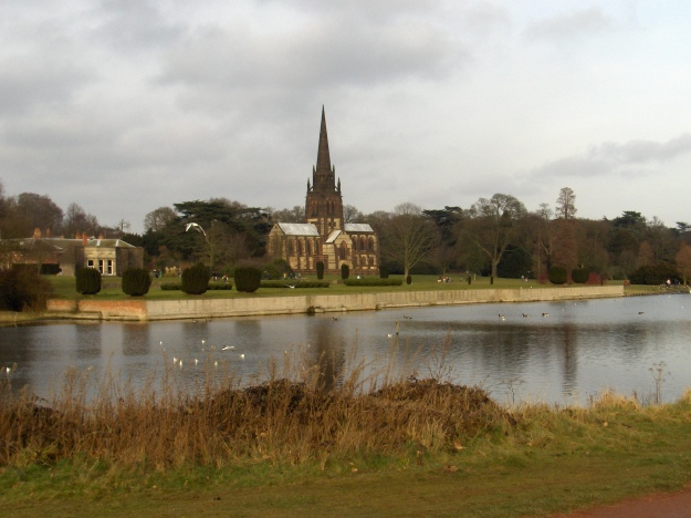 Church and lake at Clumber Park