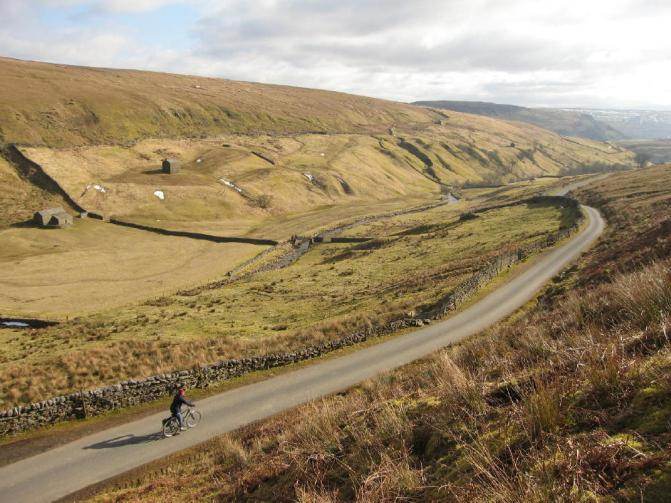 The author cycling in Upper Swaledale, Yorkshire Dales
