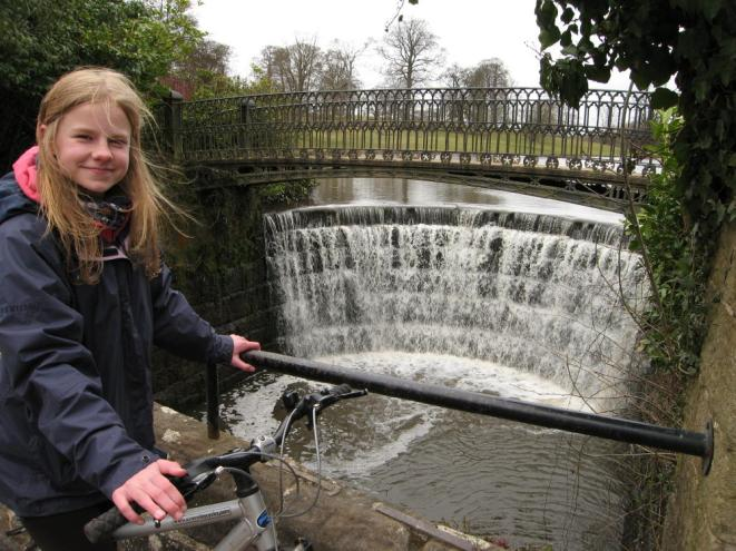 Polly at the cascade at Ripley Castle